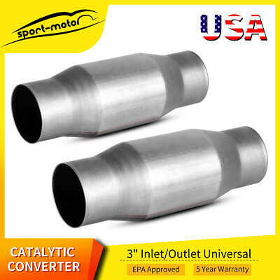 2x 410300 Universal Catalytic Converter 3inch In/Out High Flow Spun Cat Catalyst