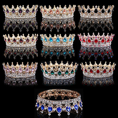 Prom Pageant Party Gold Adult King Queen Diadem Crystal Crown Wedding Hair Tiara