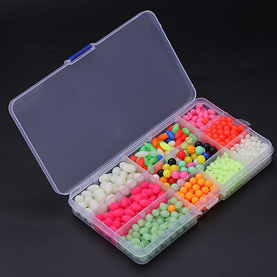 1000Pcs Colorful Fishing Lure Round Oval Plastic Beads Glow In Dark W/ Box MF