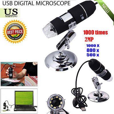 500x 800x 1000X 8LED USB Digital Microscope Endoscope Camera Magnifier+Stand