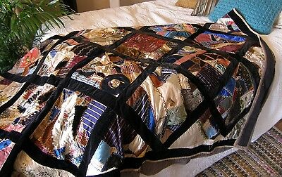 Antique Crazy Quilt, Stunning Embroidery on Silk and Velvet