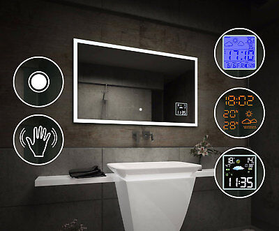 LED Illuminated Bathroom Mirror L01 | Touch & Sensor Switch | Weather Station