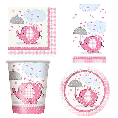 Girl Girls Baby Shower Umbrellaphants Party Tableware Decorations Pink Elephant
