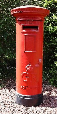 Royal Mail Red Pillar Box Original Cast Iron George V. Architectural/Garden.