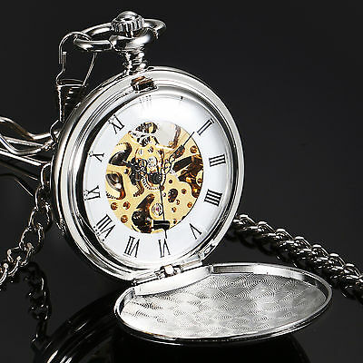 New Full Hunter Silver Case Gold Hand Winding Mechanical Mens Pocket Watch Gift