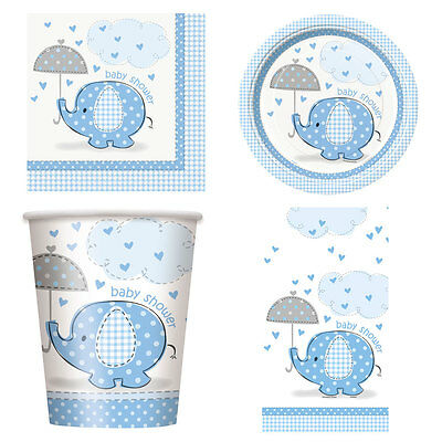 Boy Boys Baby Shower Umbrellaphants Party Tableware Decorations Blue Elephant