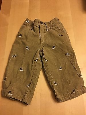 Gymboree Corduroy Pants, Khaki With Cute Dog Print, 12-18 Months