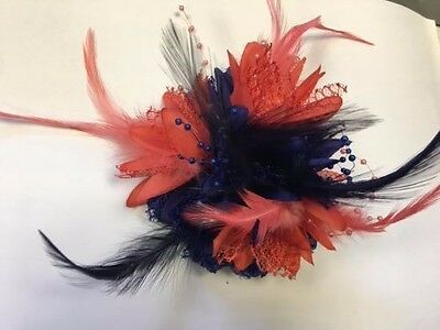 Bespoke Navy Blue and Coral Pink Fascinator on Clip Feathers Laces Beads