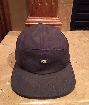 Men's Obey Logo Grey Gray Hat Cap Skate One size fits all Wool Acrylic Strapback
