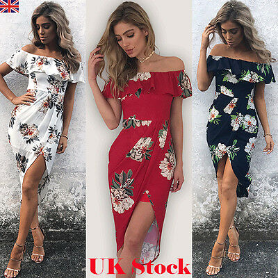 New Womens Summer Floral Casual Bodycon Evening Party Cocktail Short Mini Dress
