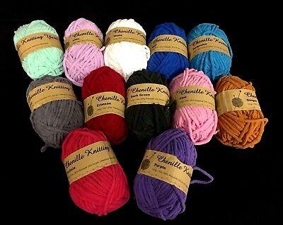 4 x Chenille Knitting Yarn Mixed Or Plain Colors 100g/ Roll 6mm Thickness New