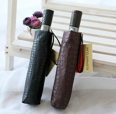 Fully Automatic Three Folding Imitation Leather Weatherproof Sun Rain Umbrellas