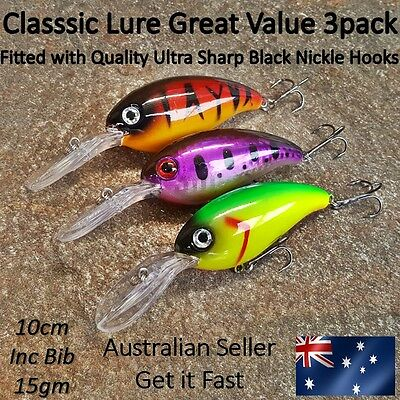 3 Yellowbelly & Cod Fishing Lures Redfin, Bream, Perch, Trout, Bass, Deep Diving