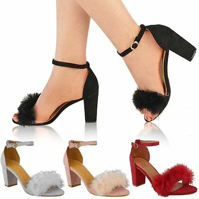 Womens Ladies Faux Fur Fluffy Low Wedge Heel Sandals Strappy Party Shoes Size UK