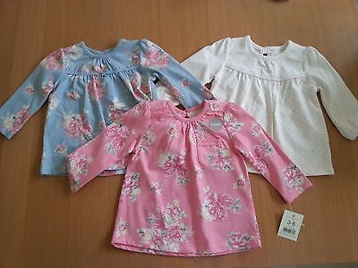 GEORGE Bundle 3x Baby Girls Tops Long Sleeve Tshirt Blouse Floral 3-6 Months NEW