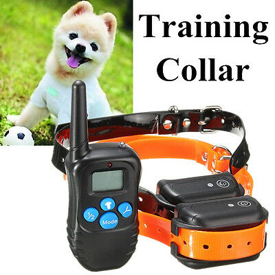 300M 100LV Waterproof Rechargeable Electric Shock Remote 2Dog Training Collar US