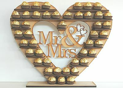 """Mr & Mrs"" Ferrero Rocher Heart Tree Wedding Display Stand Centrepiece"