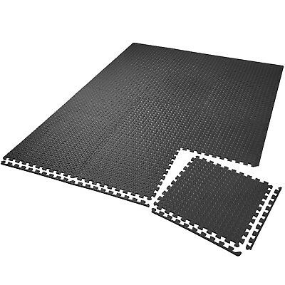 12x Foam floor EVA mats interlocking puzzle mat gym play black ca. 63 x 63 cm
