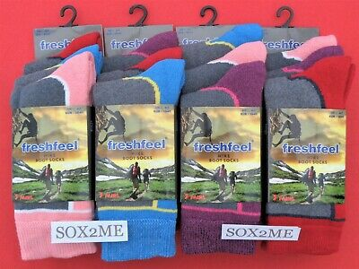 6 Pairs Ladies Womens Socks Walking Hike Boot Work Size 4 - 7 Cotton Soft Tops