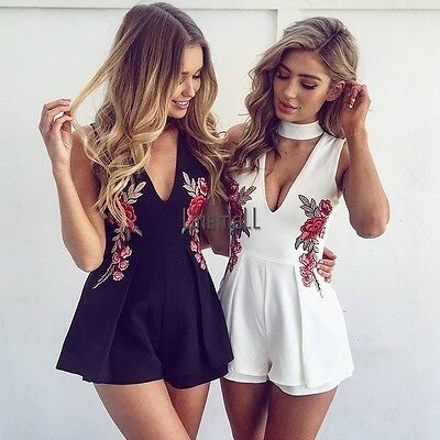 Hot Women Ladies V-Neck Playsuit Clubwear Bodycon Party Jumpsuit Romper Trousers