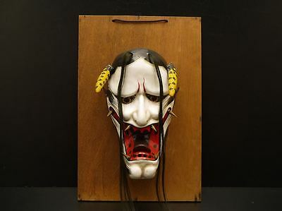 JAPANESE ANTIQUE DEMON DEVIL LACQUER MASK HANNYA NOH r285