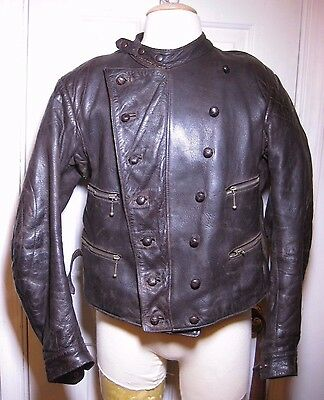 1930s -40s  brown leather Motorcycle jacket sz 38