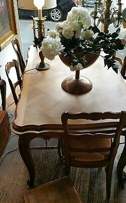 Antique French Oak Dining Table with Extension Draw Leaves