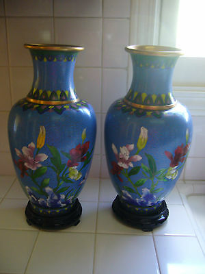 Pair Of Vintage Chinese Cloisonne Blue Floral/ Butterfly Vases W/wood Base