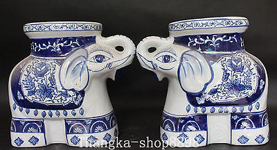 China Blue And White Porcelain Flower Animal Elephant Chair Stool Pair Statue