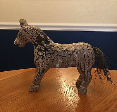Antique Vintage Hand Carved Wood Horse Hand Painted Primitve