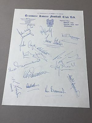 TRANMERE ROVERS FC signed letter from the 1970's Football autographs