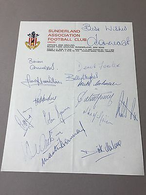 SUNDERLAND FC  signed letter from the 1970's Football autographs