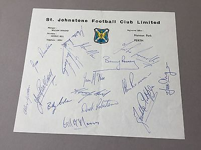 ST. JOHNSTONE FC  signed letter from the 1970's Football autographs