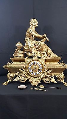 .;/  ANTIQUE FRENCH FIGURAL  CLOCK. Signed  P.H.MOUREY .    Original Gilding
