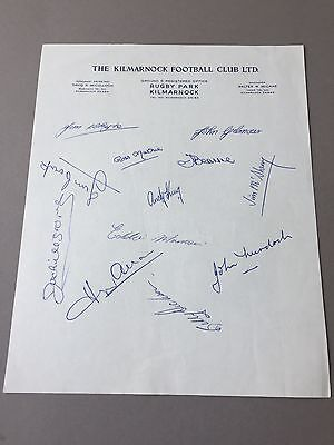 THE KLIMARNOCK FC  signed letter from the 1970's Football autographs