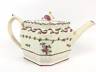 Antique Harley Or Baker c. 1800 Porcelain Swan Top Teapot Purple Tea Pot