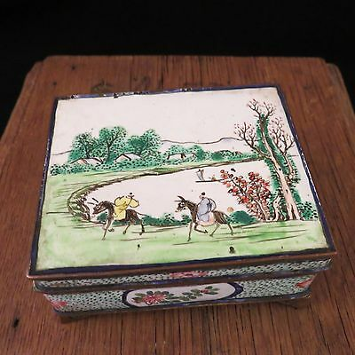 Antique c1830 CHINESE EXPORT Enamel On Brass Lidded Box RARE SIGNED Fine Example