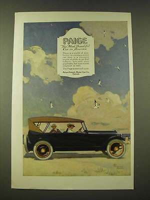 1918 Paige Car Ad - art by George Harper - the most beautiful car in America