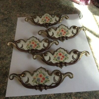 Vintage Floral Bureau Dresser Handles Painted Pulls 5 Antique Brass Color