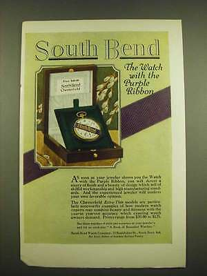 1918 South Bend Chesterfield Watch Ad - The Watch with the Purple Ribbon