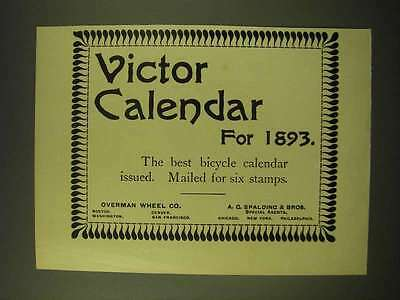 1893 Victor Bicycles Ad - Victor Calendar for 1893
