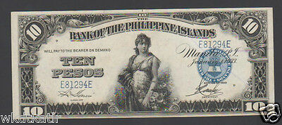 """a/UNC~UNC"" 1933 Philippines Bank of the Philippines 10 Pesos ""E81294E"" #858"