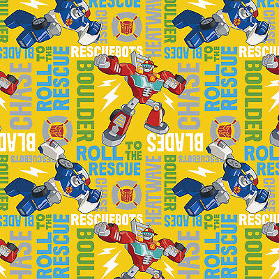 Hasbro Transformers Rescue Bots Roll to 100% Cotton Fabric by the yard