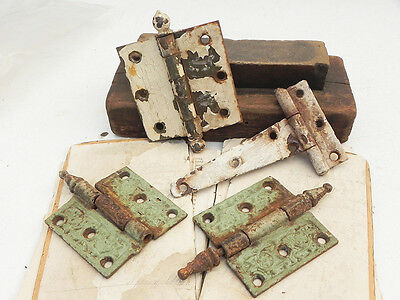 4 Salvaged Rusty Vintage Cast Iron Steel Hinges Part Assemblage Steampunk Supply