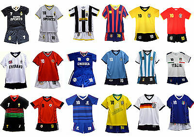 Football Soccer Sports Kit Summer Shorts Boys Girls Top Vest Set Age 2-12Years
