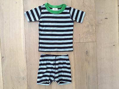 Hanna Andersson Size 90 3 Years Blue Stripe Organic Cotton Short Johns Pajamas