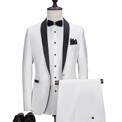 New White Men Groom Tuxedos Wedding Best Men Suit Groomsmen Suit Custom Made