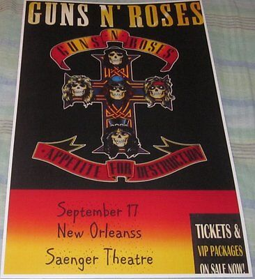 Guns N Roses 1987 New Orleans Replica Concert Poster W/protective Sleeve