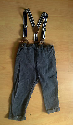 Blue Trousers with Braces from Next Baby Age 9-12 Months