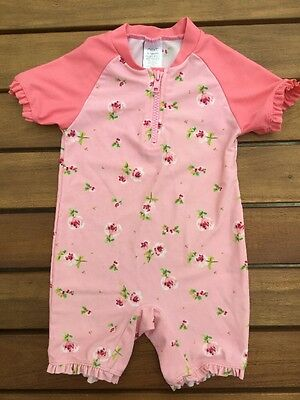 Gorgeous Next Baby Girls Pink Floral Swimsuit/Costume, 9-12 Months, Good Cond!